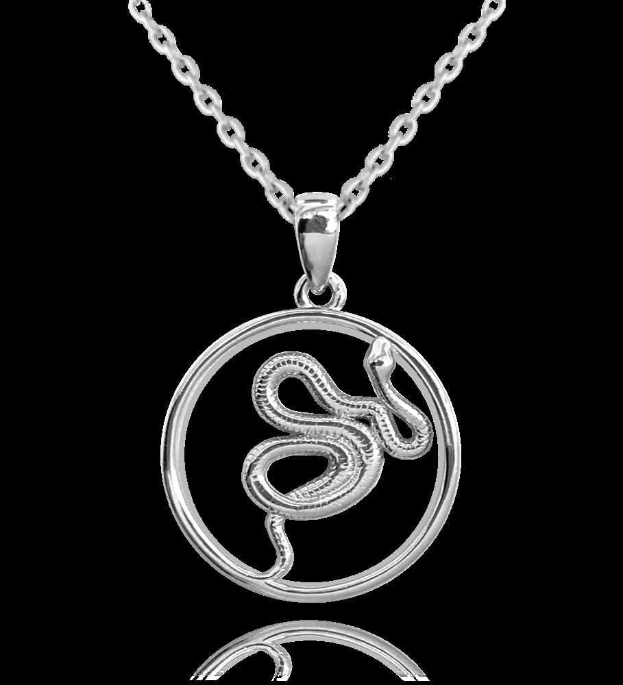 MINET Stříbrný náhrdelník s hadem MINET SNAKE JMAN0256SN45