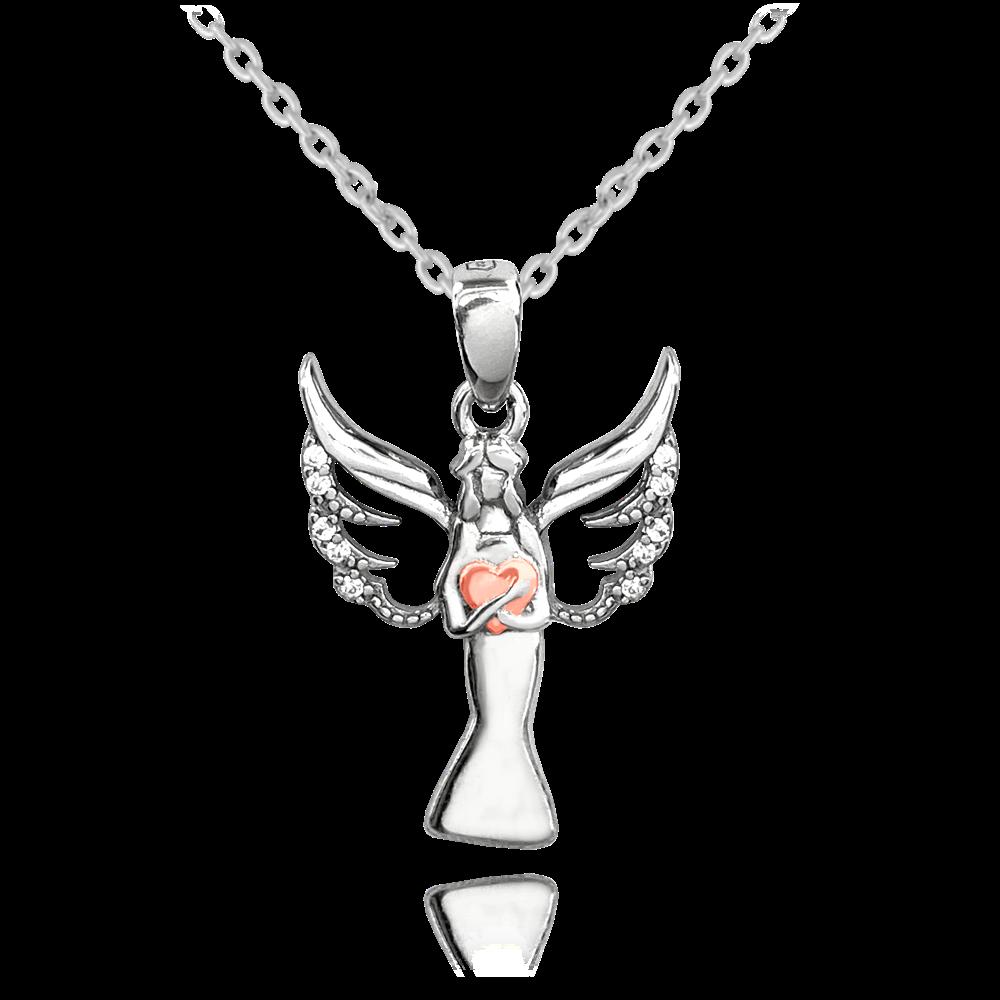 MINET Stříbrný náhrdelník MINET ANDĚL s Rosegold srdíčkem JMAN0258PN45