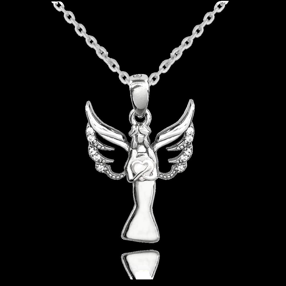 MINET Stříbrný náhrdelník MINET ANDĚL se srdíčkem JMAN0258SN45