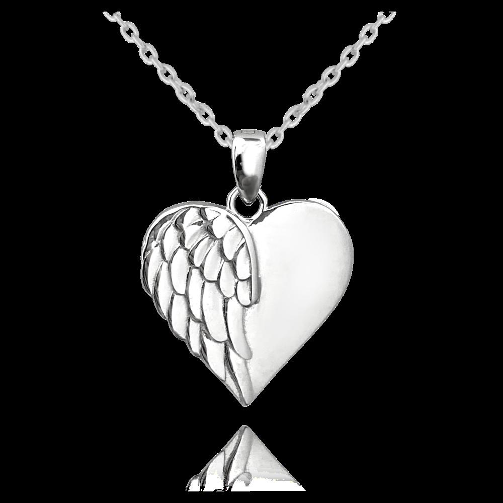 MINET Stříbrný náhrdelník MINET SRDCE s andělským křídlem JMAN0259SN45