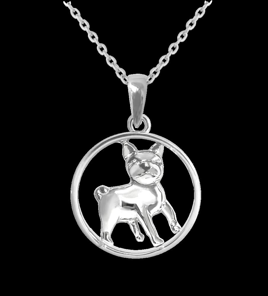 MINET Stříbrný náhrdelník MINET MOPS JMAN0036MN45