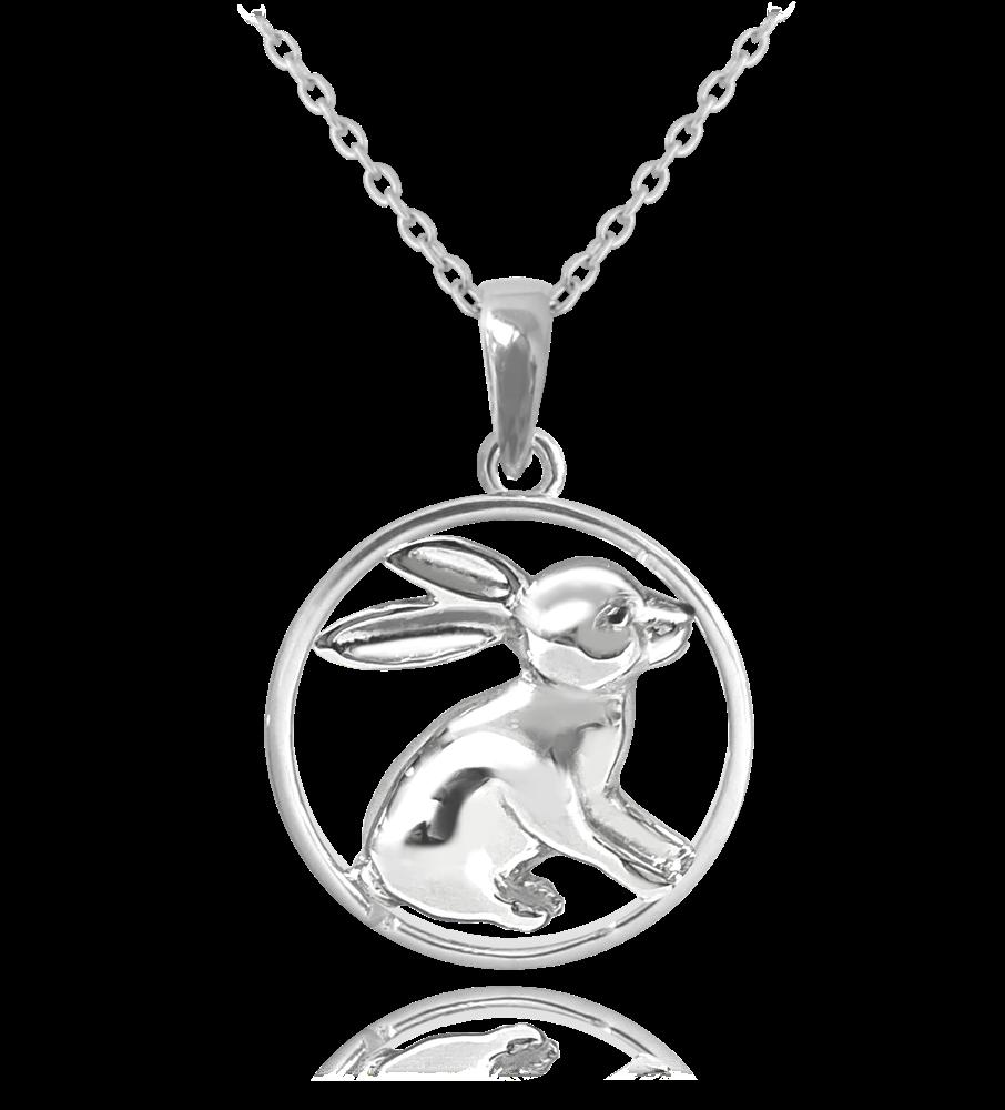 MINET Stříbrný náhrdelník MINET ZAJÍC JMAN0036ZN45