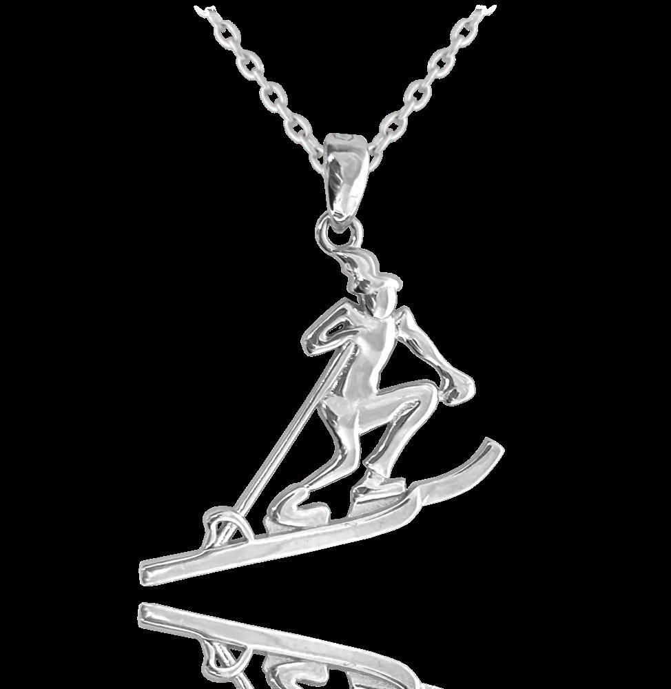 MINET Stříbrný náhrdelník MINET LYŽAŘ JMAN0268SN45