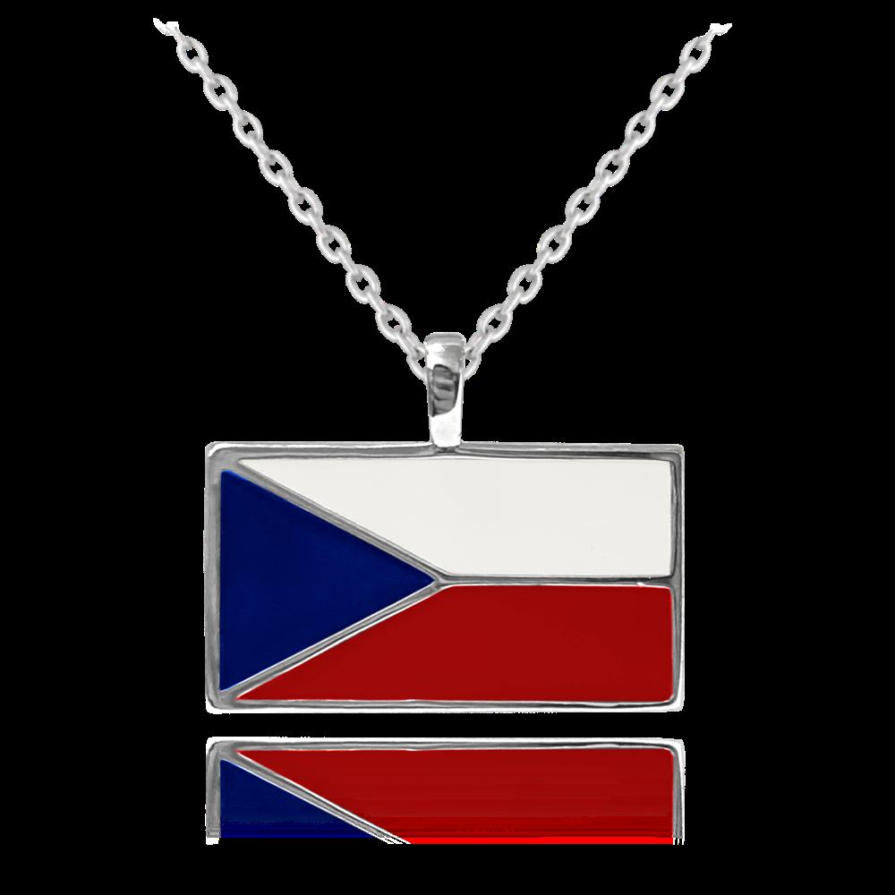 MINET Stříbrný náhrdelník MINET ČESKÁ VLAJKA JMAN0270SN45