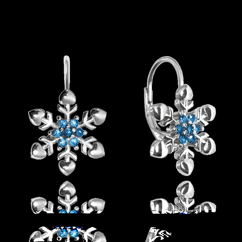 MINET Stříbrné náušnice MINET SNĚHOVÉ VLOČKY s modrými zirkony JMAS8037BE00