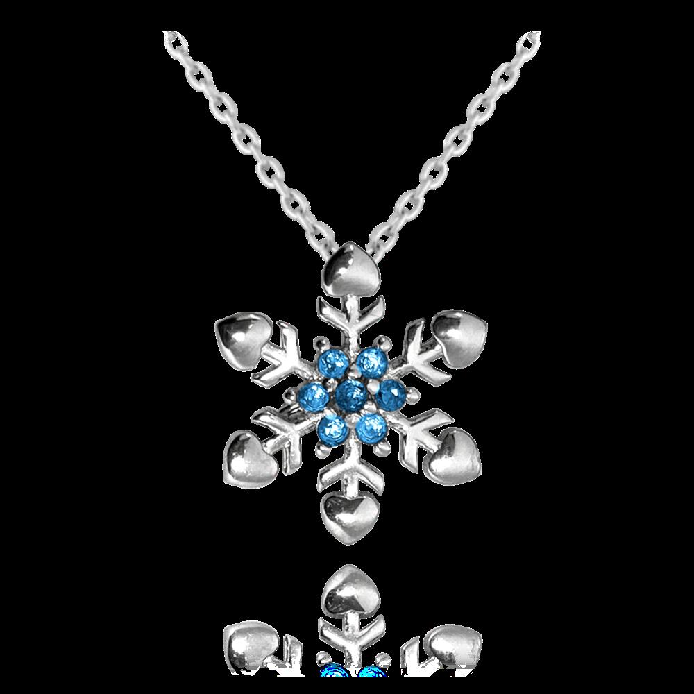 MINET Stříbrný náhrdelník MINET SNĚHOVÁ VLOČKA s modrými zirkony JMAS8037BN45