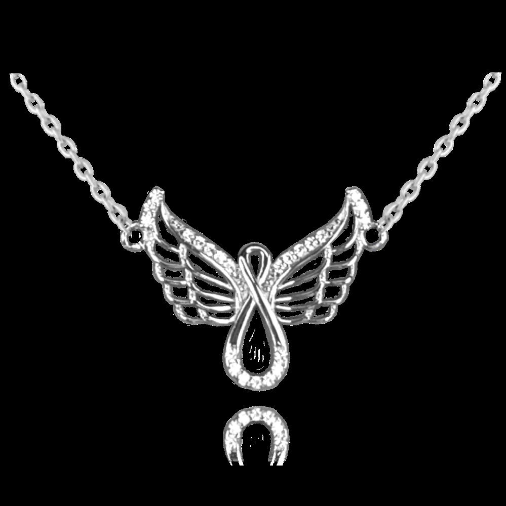 MINET Stříbrný náhrdelník MINET ANDĚL se zirkony JMAN0267SN45