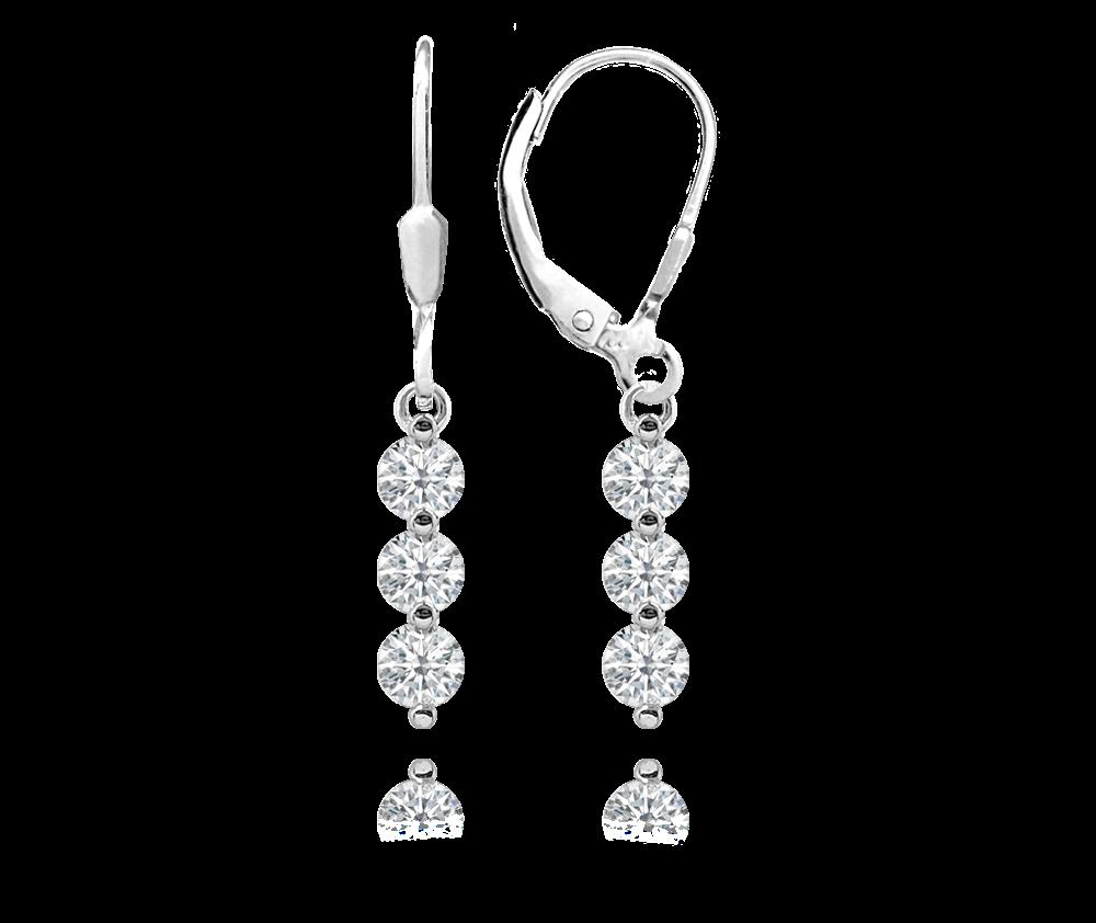 MINET Elegantní stříbrné náušnice MINET s bílými zirkony JMAS0126SE00