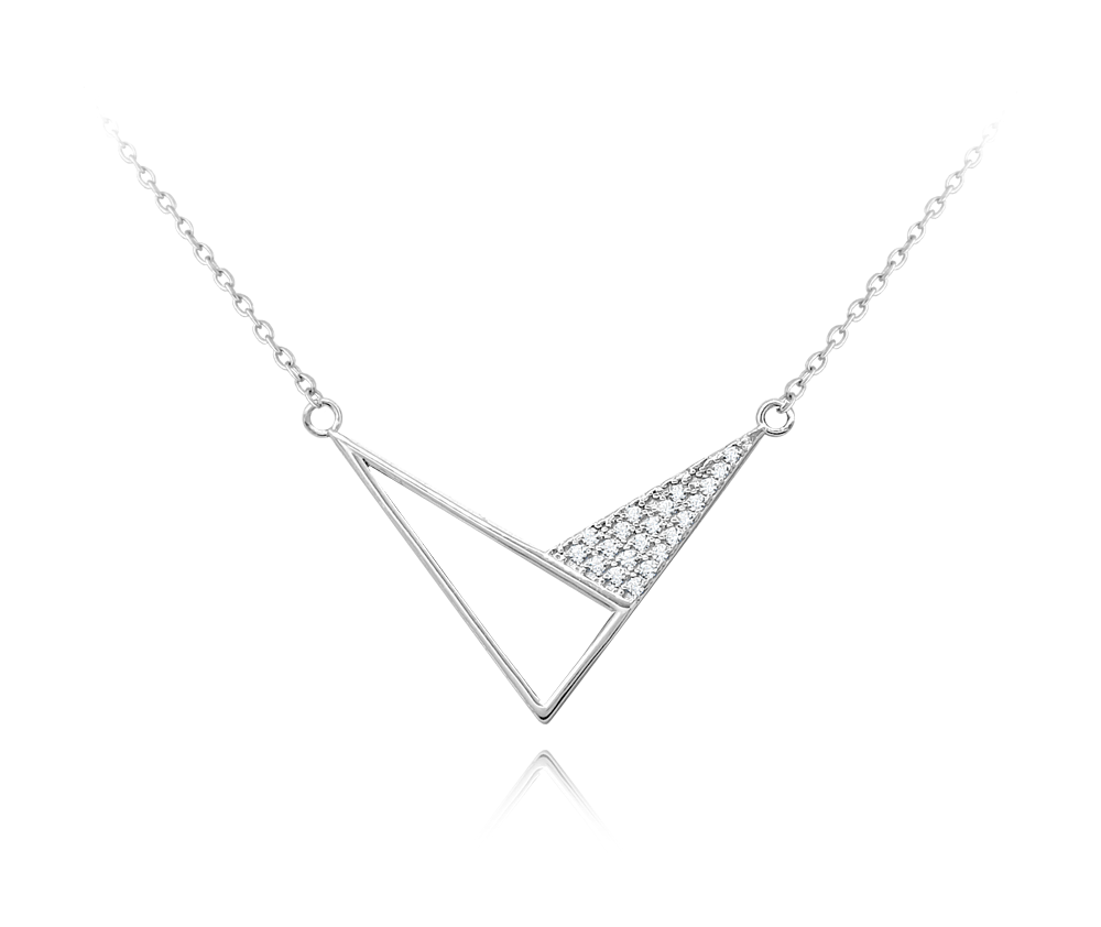 MINET Geometrický stříbrný náhrdelník MINET TROJÚHELNÍKY se zirkony JMAS0127SN45