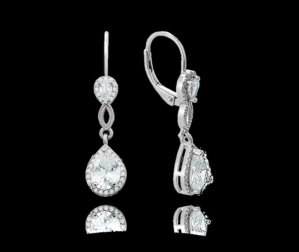 MINET Luxusní stříbrné náušnice MINET s velkými zirkony JMAS0128SE00