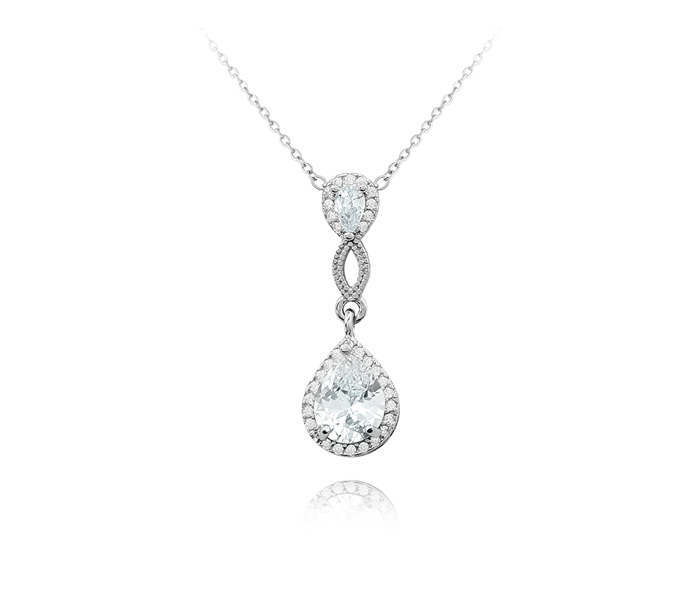 MINET Luxusní stříbrný náhrdelník MINET s velkými zirkony JMAS0128SN45