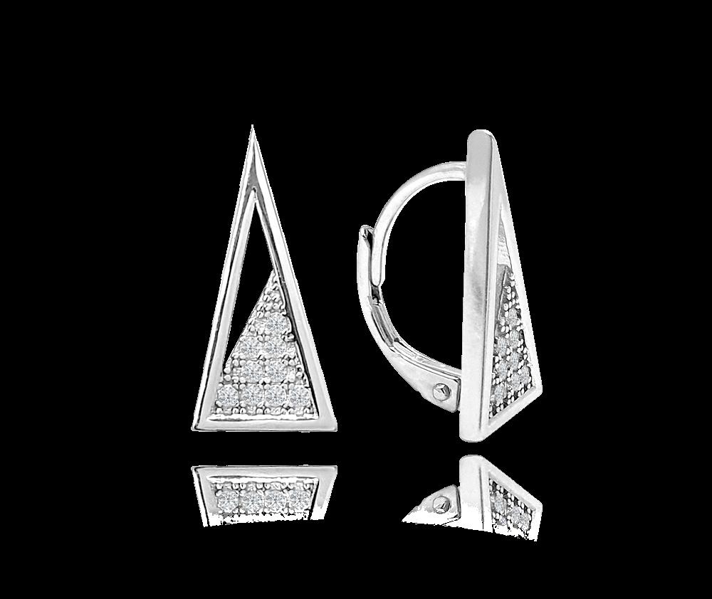 MINET Geometrické stříbrné visací náušnice MINET TROJÚHELNÍKY se zirkony JMAS0127SE00