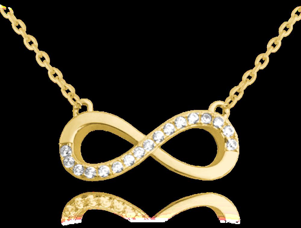 MINET Pozlacený stříbrný náhrdelník MINET NEKONEČNO s bílými zirkony JMAN0076GN45