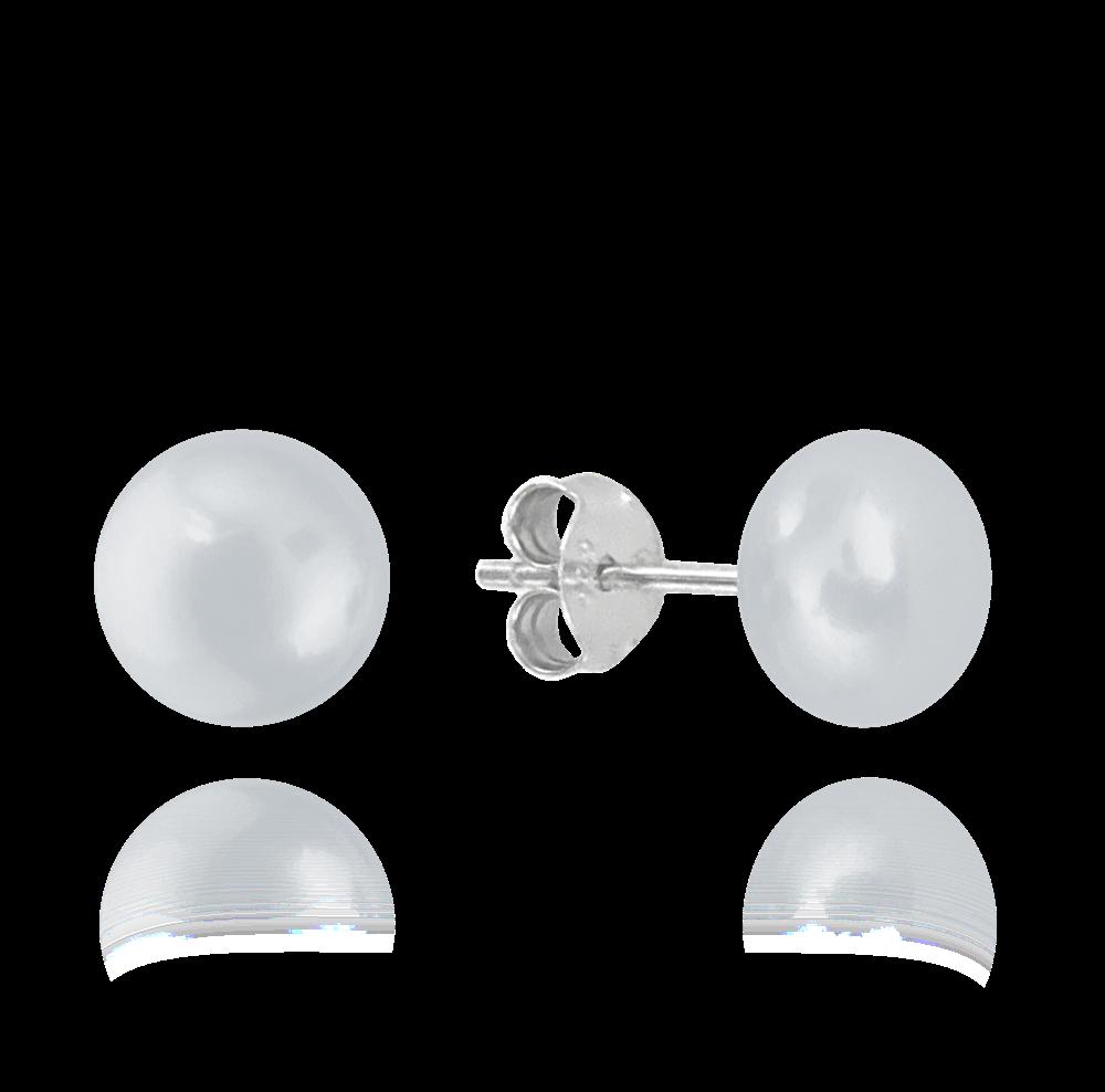 MINET Stříbrné náušnice MINET PERLY - stříbrné 8mm JMAS7010SE08