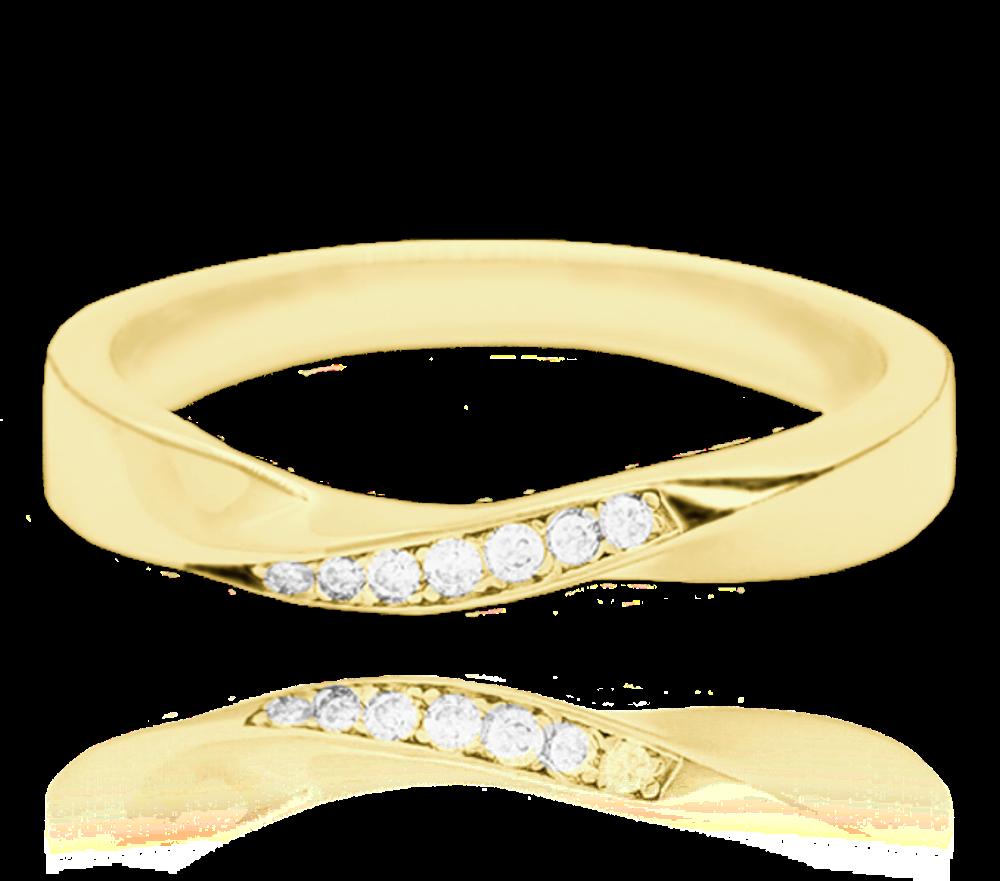 MINET Pozlacený kroucený stříbrný prsten MINET s bílými zirkony vel. 53 JMAN0145GR53