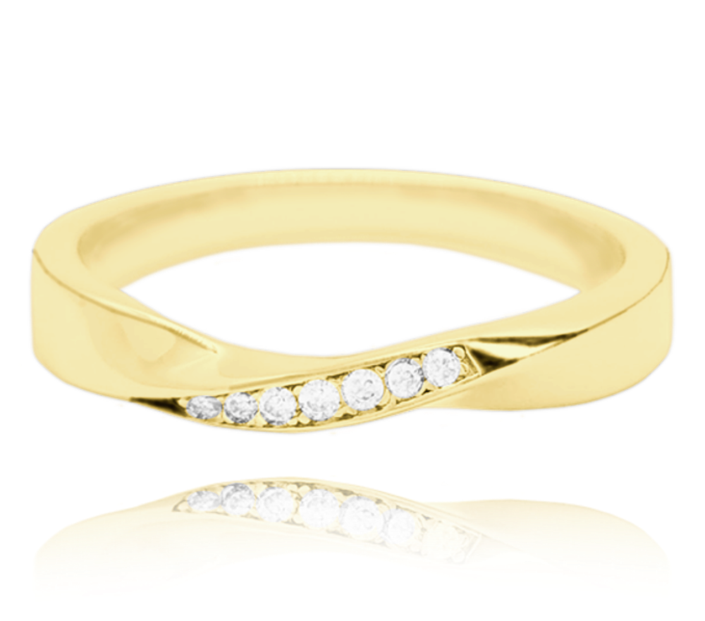 MINET Pozlacený kroucený stříbrný prsten MINET s bílými zirkony vel. 65 JMAN0145GR65
