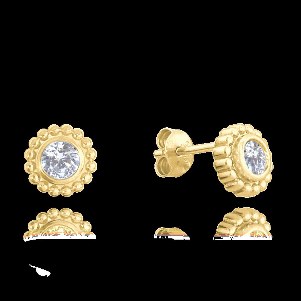 MINET Pozlacené kuličkové stříbrné náušnice MINET s bílými zirkony JMAS0121GE00