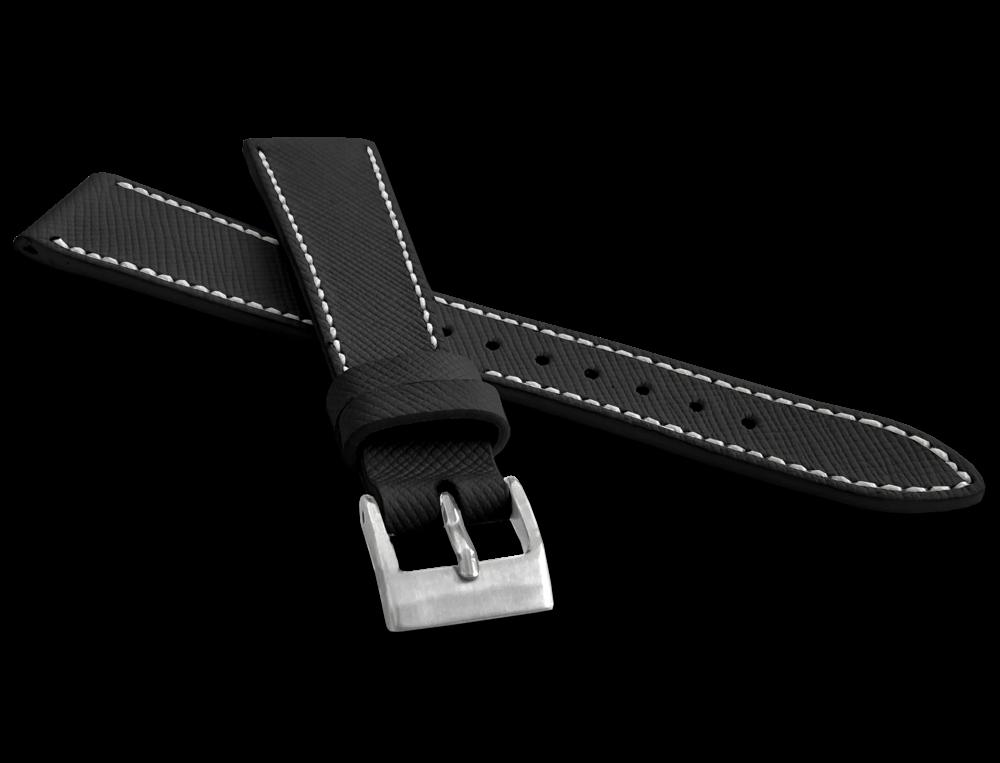 LAVVU Černý strukturovaný řemínek LAVVU EPSOM z luxusní kůže Top Grain - 20 LSFUB20