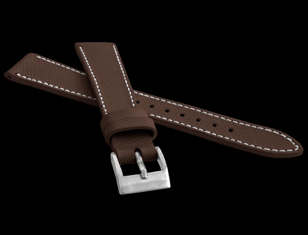LAVVU Tmavě hnědý strukturovaný řemínek LAVVU EPSOM z luxusní kůže Top Grain - 20 LSFUC20