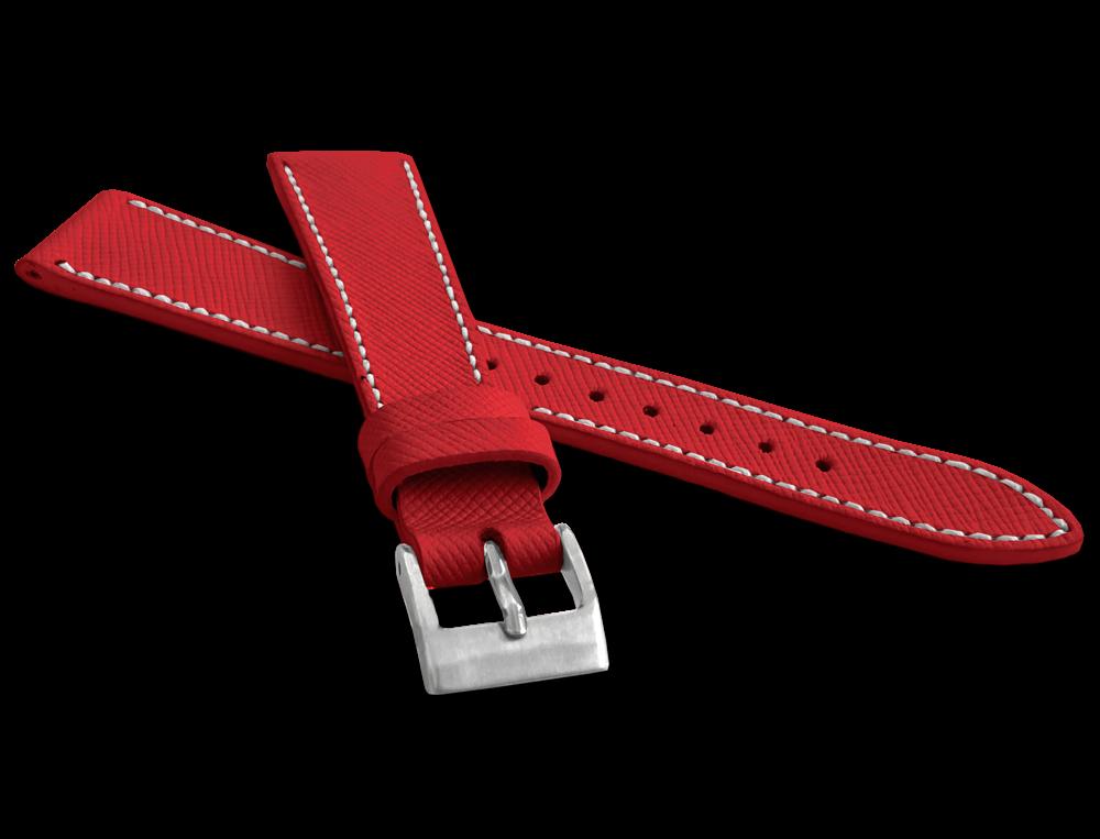 LAVVU Červený strukturovaný řemínek LAVVU EPSOM z luxusní kůže Top Grain - 20 LSFUR20