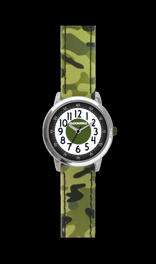 Svítící zelené chlapecké hodinky CLOCKODILE ARMY s maskáčovým vzorem