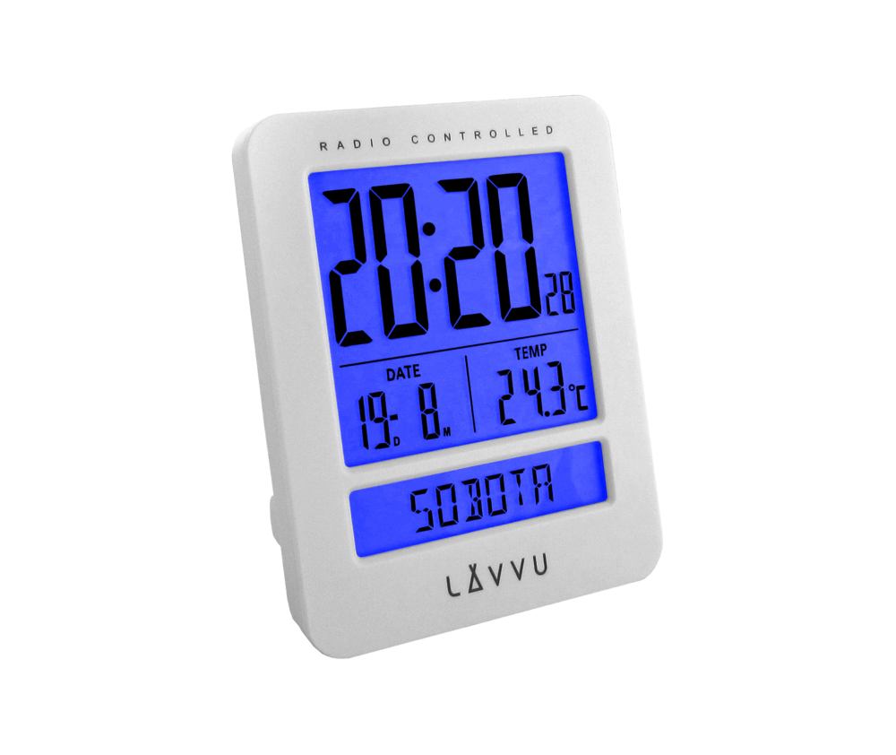 Digitální budík řízený rádiovým signálem LAVVU Duo White s češtinou