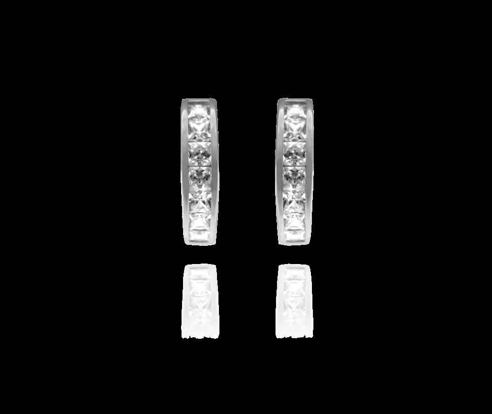 Třpytivé stříbrné náušnice MINET s velkými bílými zirkony