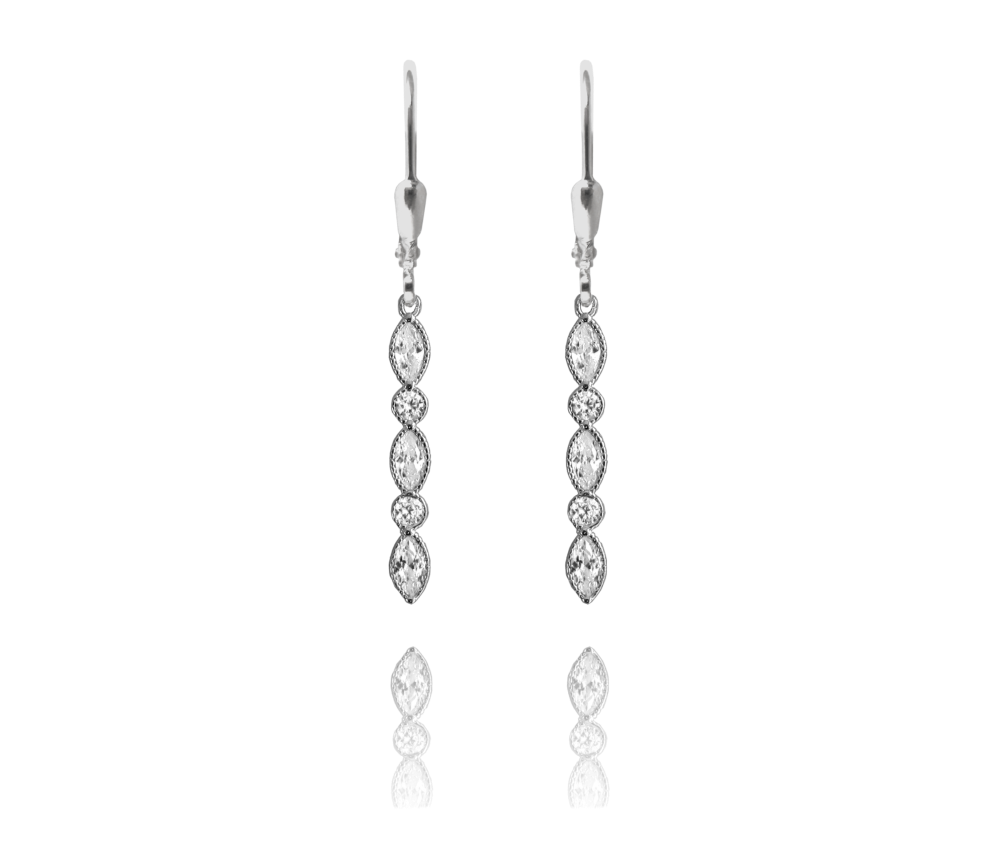 Romantické stříbrné náušnice MINET s bílými zirkony