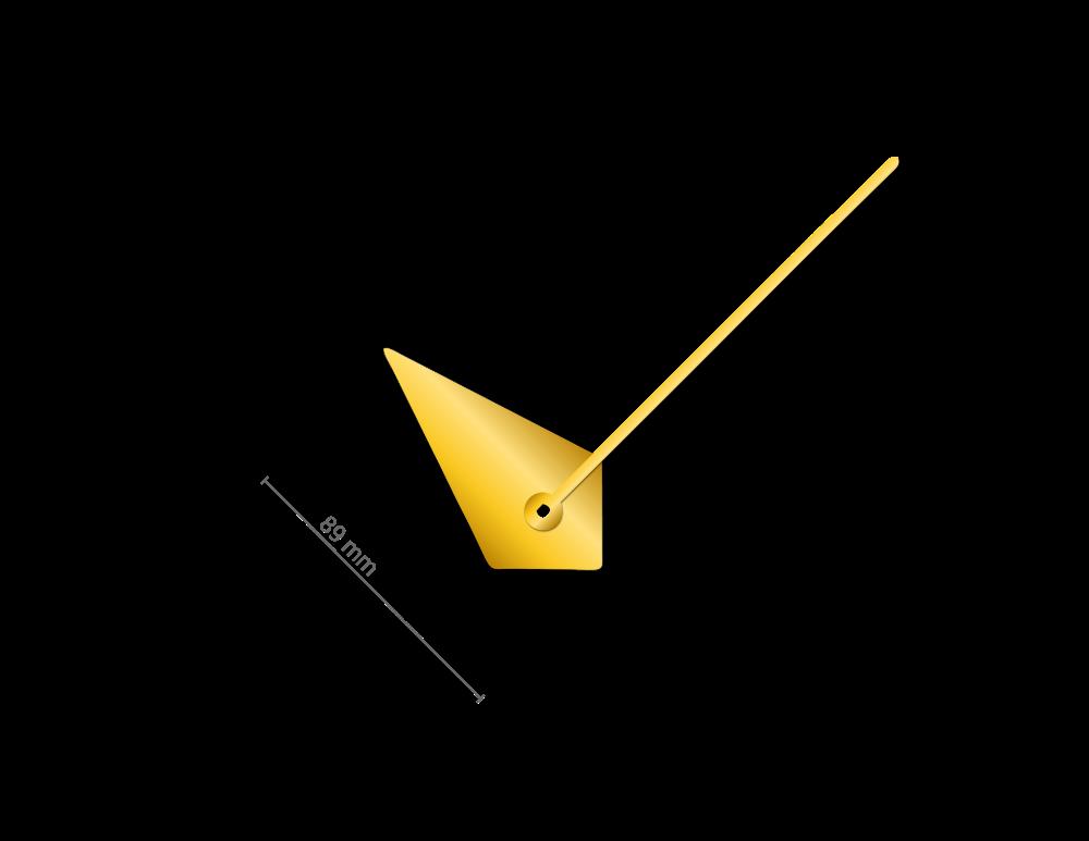 Zlaté atypické hliníkové ručičky na hodiny 133 mm | 65 mm