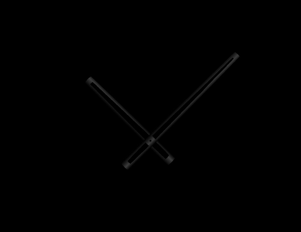 Černé vyseknuté hliníkové ručičky na hodiny 168 mm | 118 mm