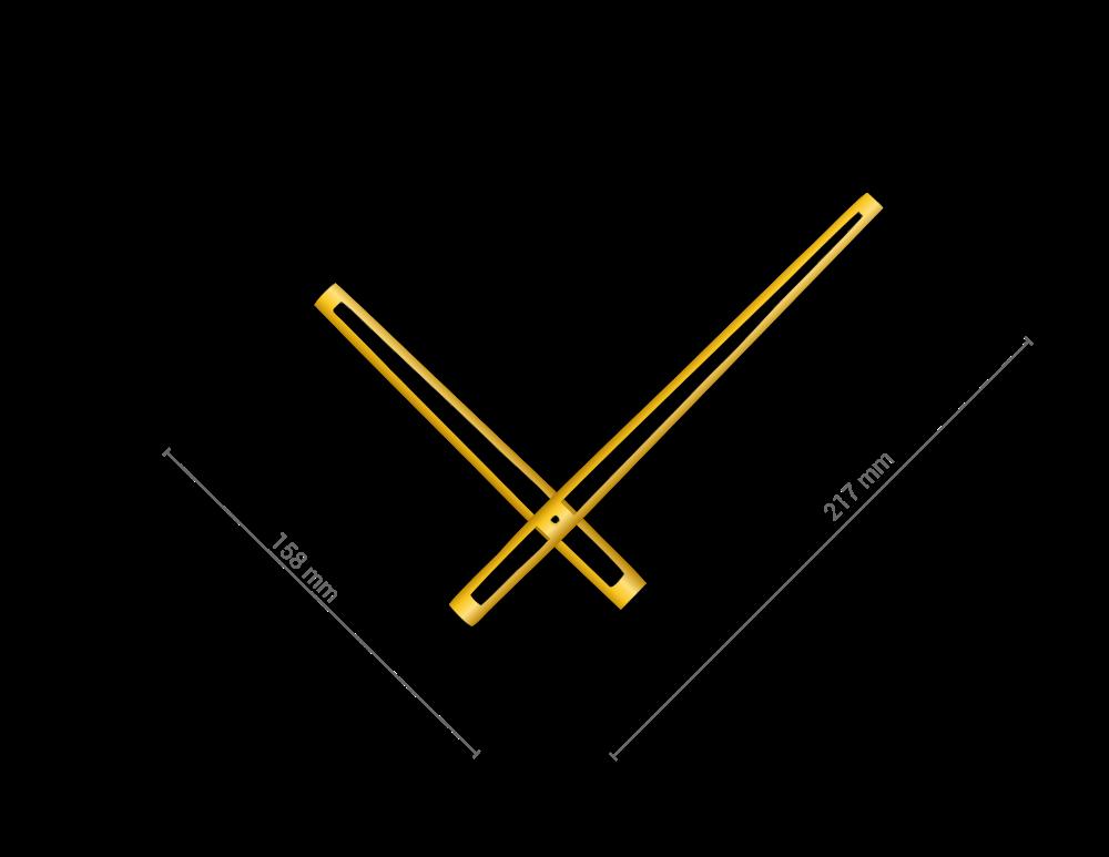 Zlaté vyseknuté hliníkové ručičky na hodiny 168 mm | 118 mm