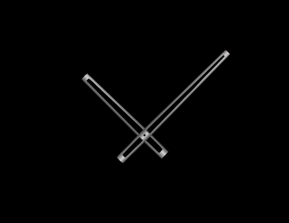 Stříbrné vyseknuté hliníkové ručičky na hodiny 168 mm | 118 mm