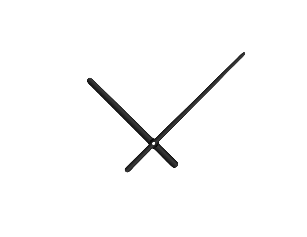 Černé oblé hliníkové ručičky na hodiny 158 mm   113 mm