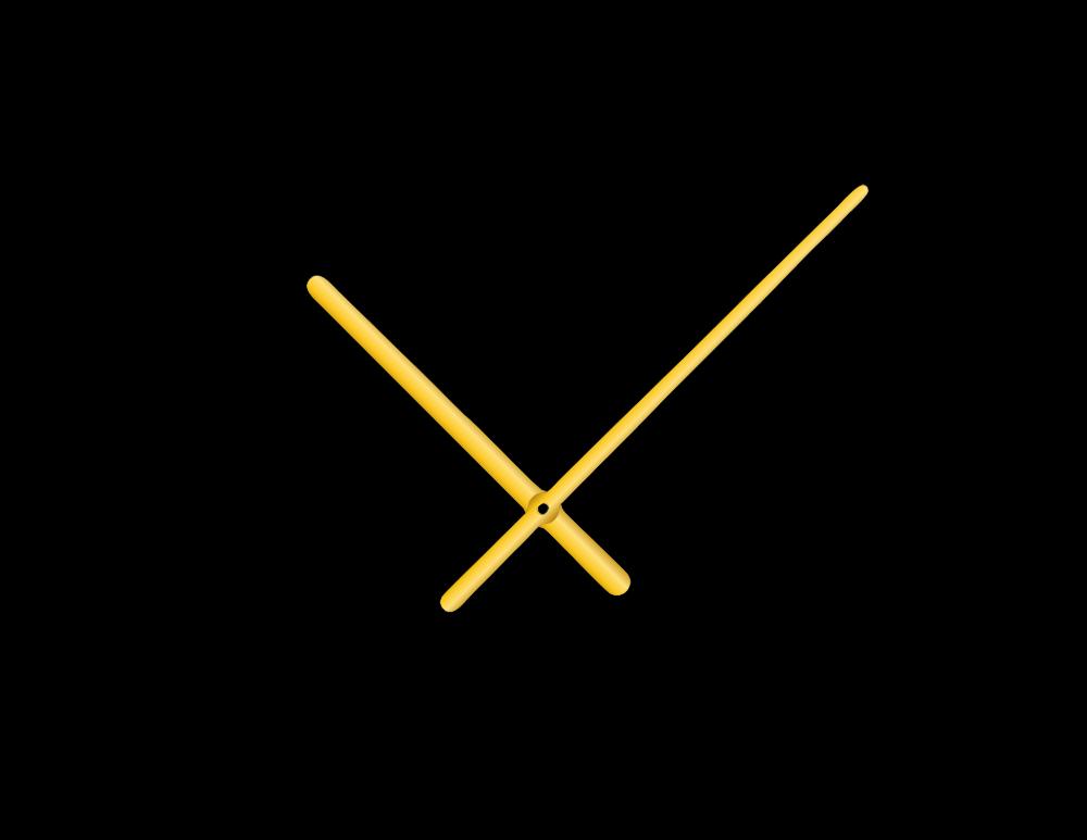 Zlaté oblé hliníkové ručičky na hodiny 158 mm | 113 mm