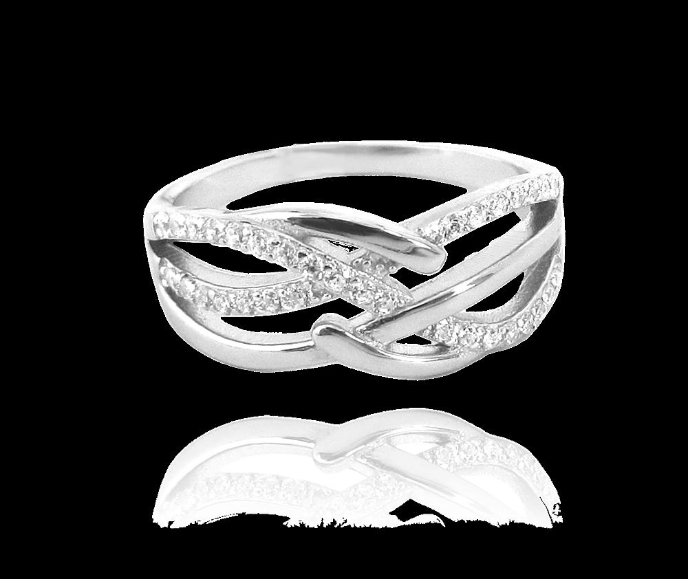 Luxusní stříbrný prsten MINET s bílými zirkony vel. 57