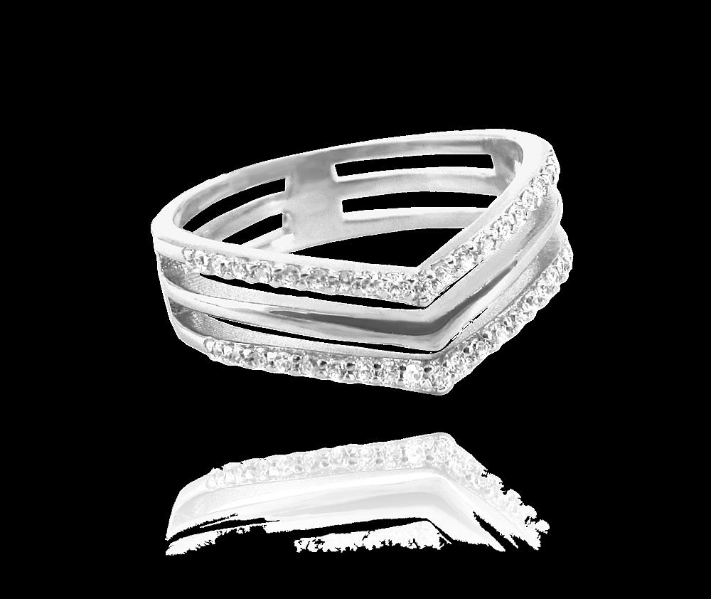 Trojitý stříbrný prsten MINET s bílými zirkony vel. 53