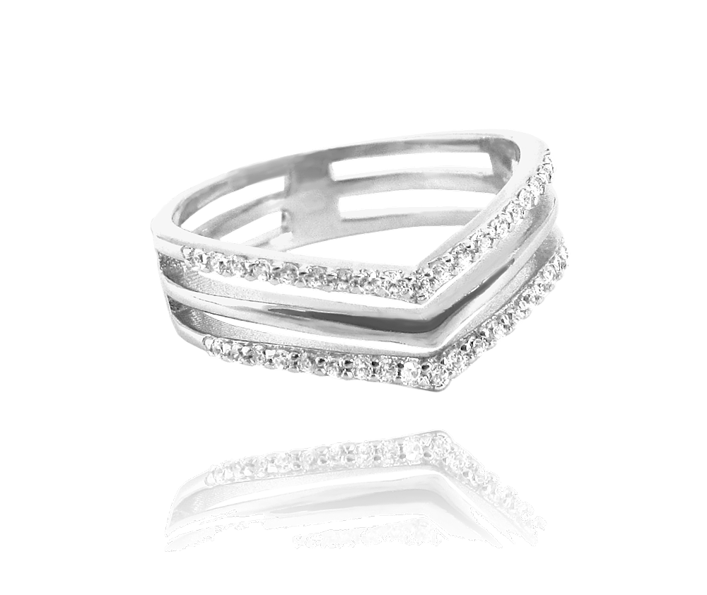 Trojitý stříbrný prsten MINET s bílými zirkony vel. 55
