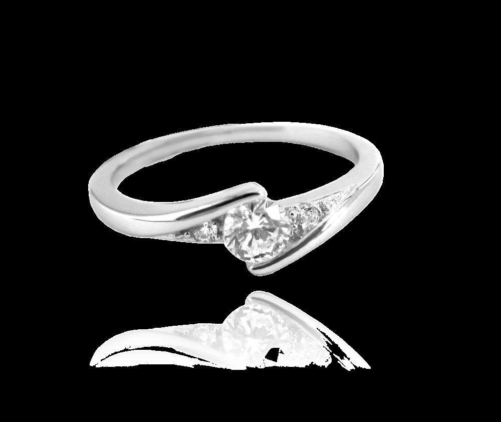Elegantní stříbrný prsten MINET s bílými zirkony vel. 55