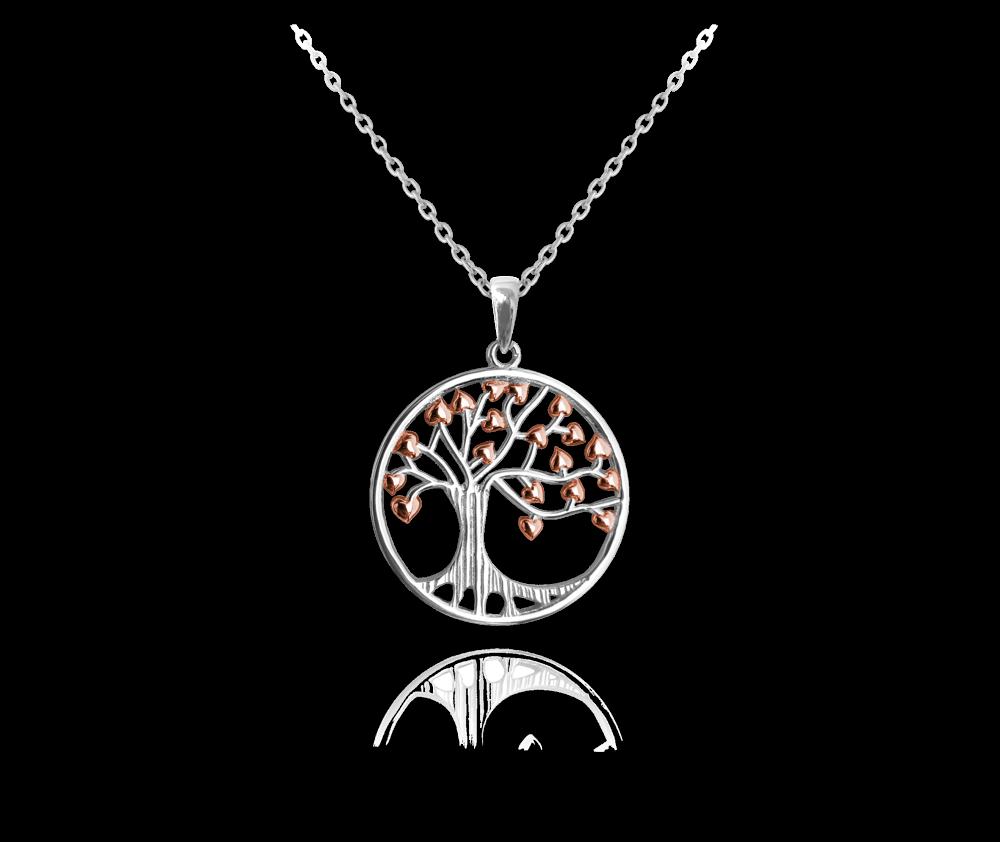 Stříbrný náhrdelník MINET STROM ŽIVOTA