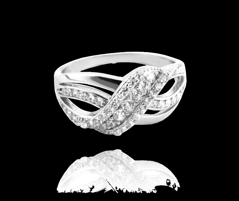 Luxusní stříbrný prsten MINET s bílými zirkony vel. 55