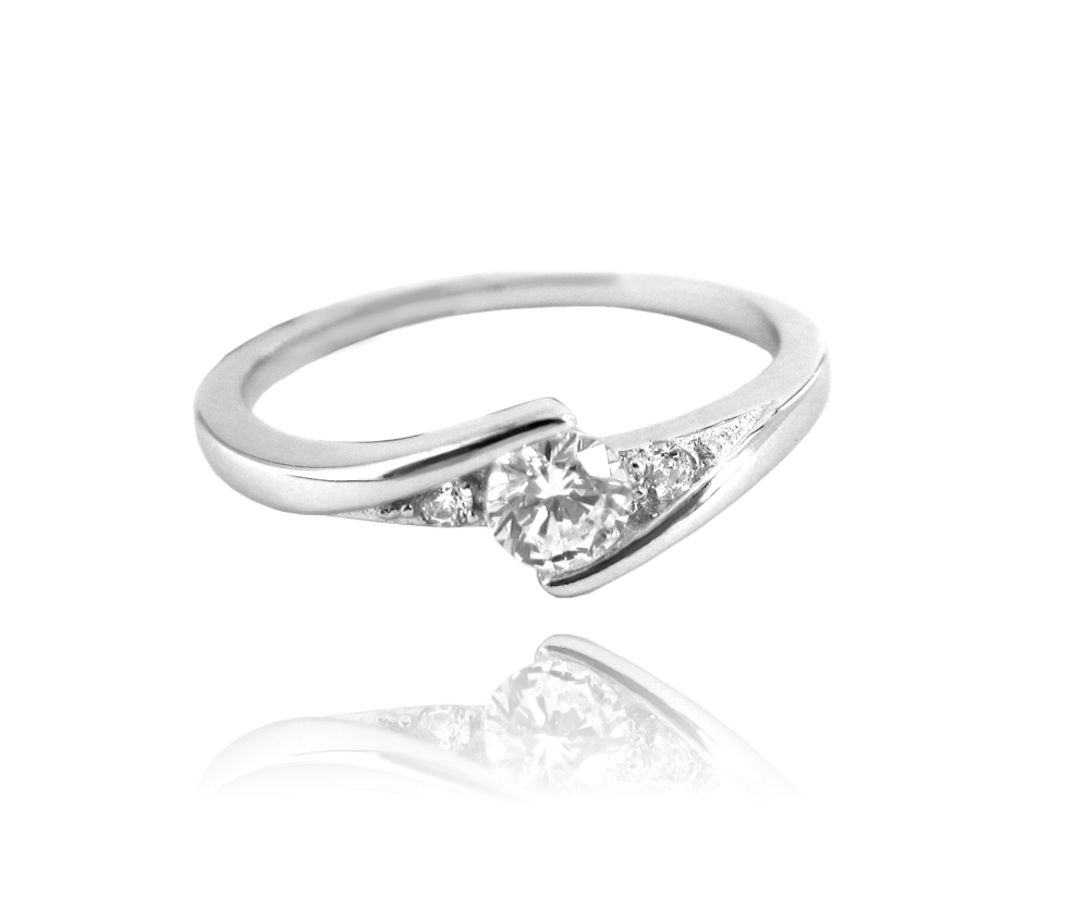 Elegantní stříbrný prsten MINET s bílými zirkony vel. 47