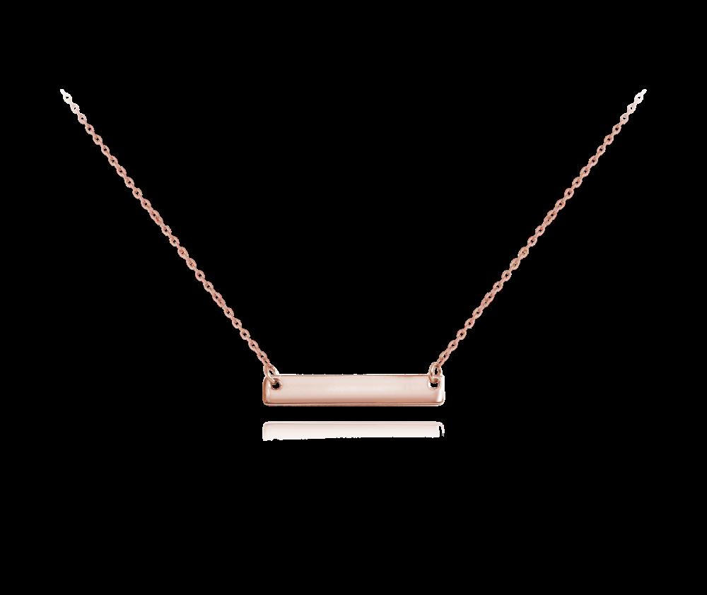 MINET Rose gold stříbrný náhrdelník MINET ENGRAVE - destička pro gravírování JMAS8201RN48