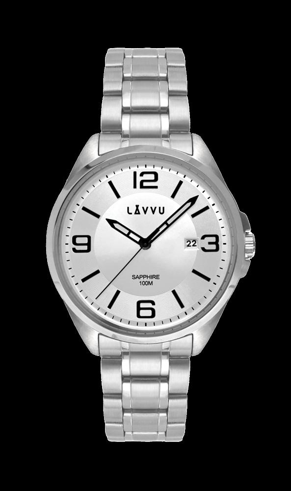 Pánské hodinky se safírovým sklem LAVVU HERNING Silver