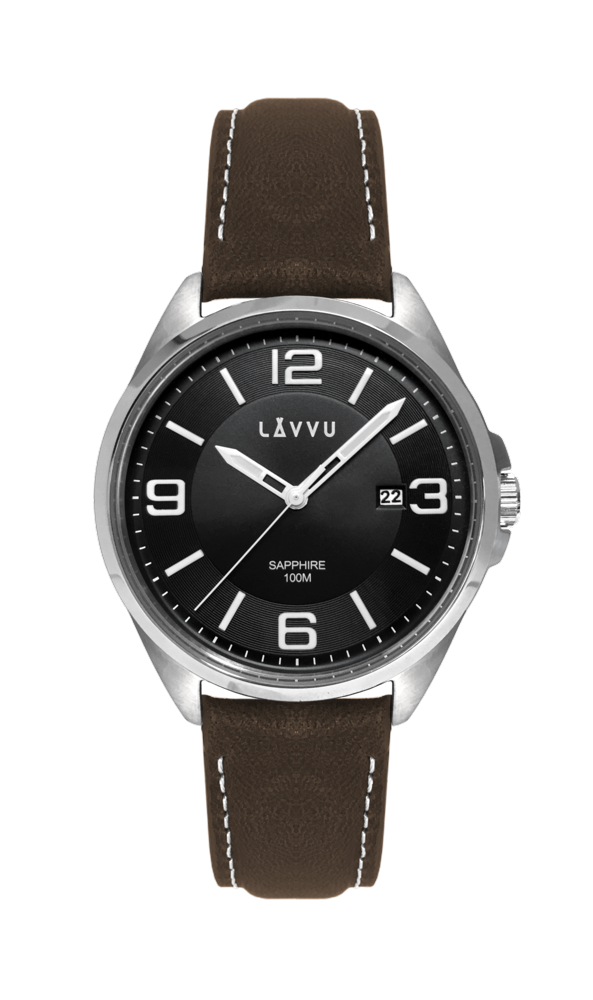Pánské hodinky se safírovým sklem LAVVU HERNING Black / Top Grain Leather