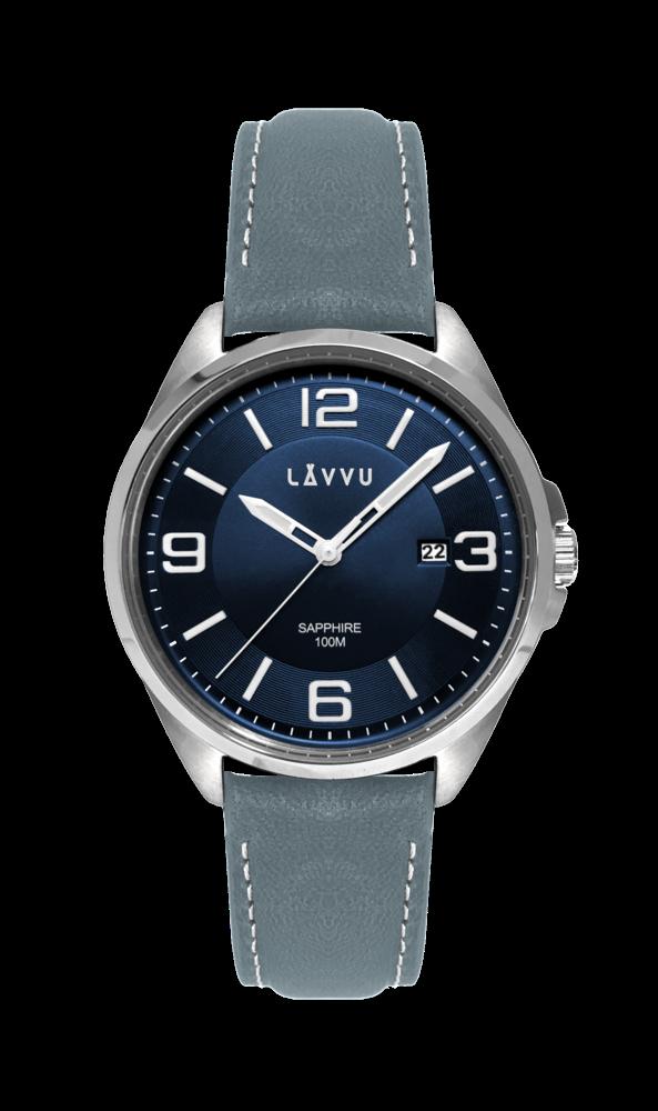 Pánské hodinky se safírovým sklem LAVVU HERNING Blue / Top Grain Leather