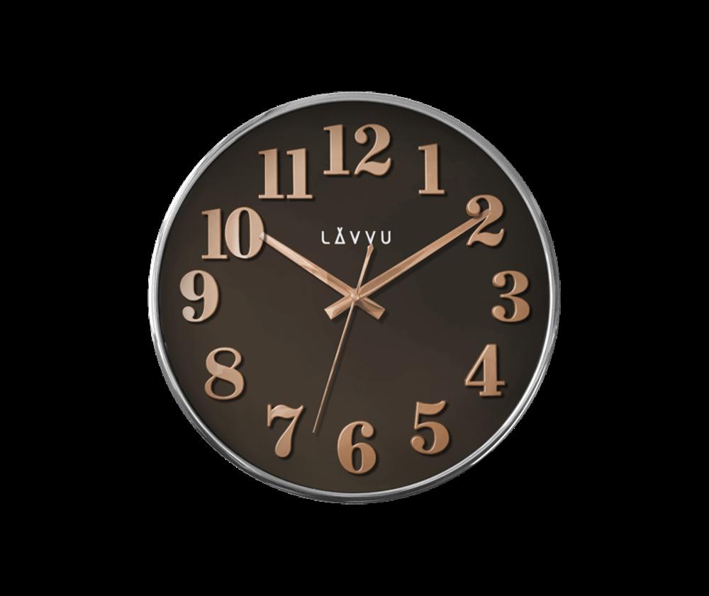 Hnědé hodiny LAVVU HOME Brown s dřevěným dekorem