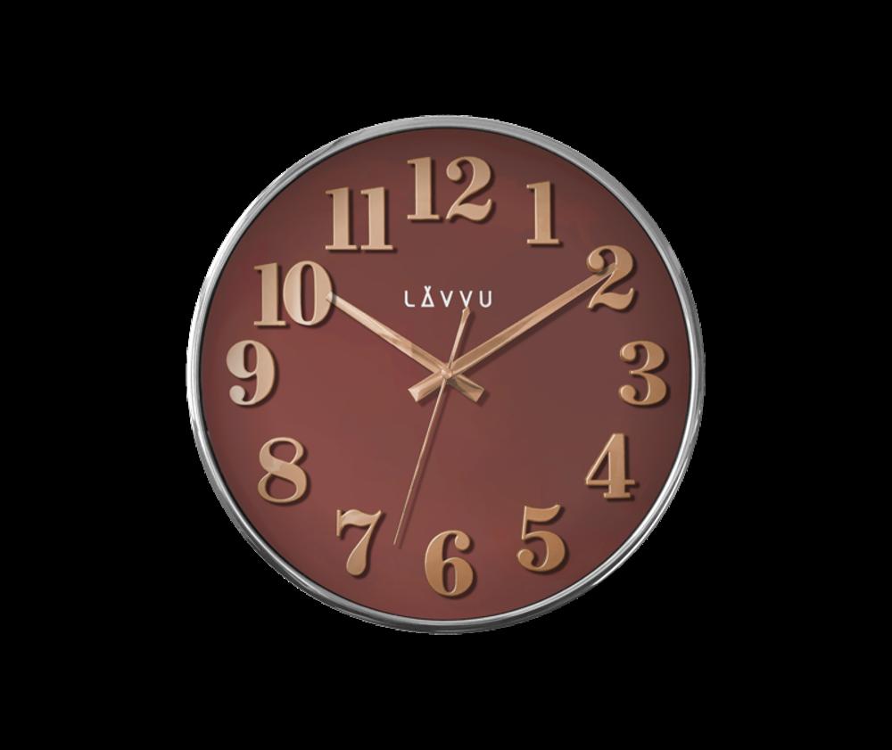 Červené hodiny LAVVU HOME Red s dřevěným dekorem