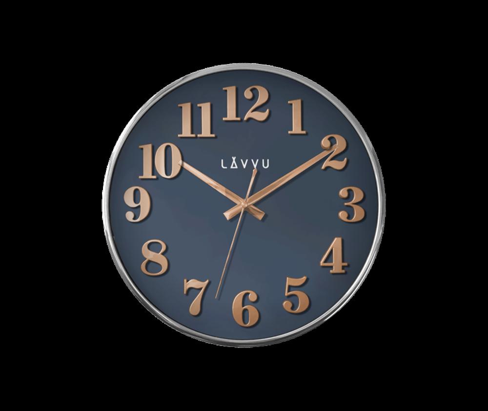 Modré hodiny LAVVU HOME Blue s dřevěným dekorem