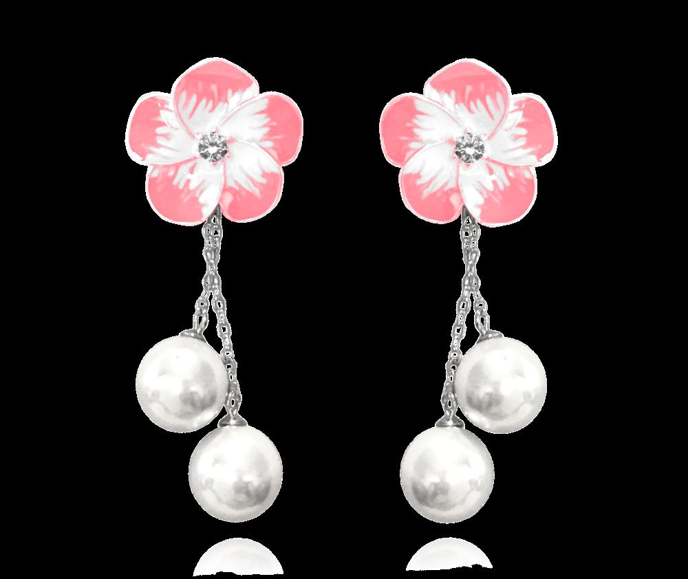 Růžové rozkvetlé stříbrné náušnice MINET FLOWERS se zirkony a perličkami