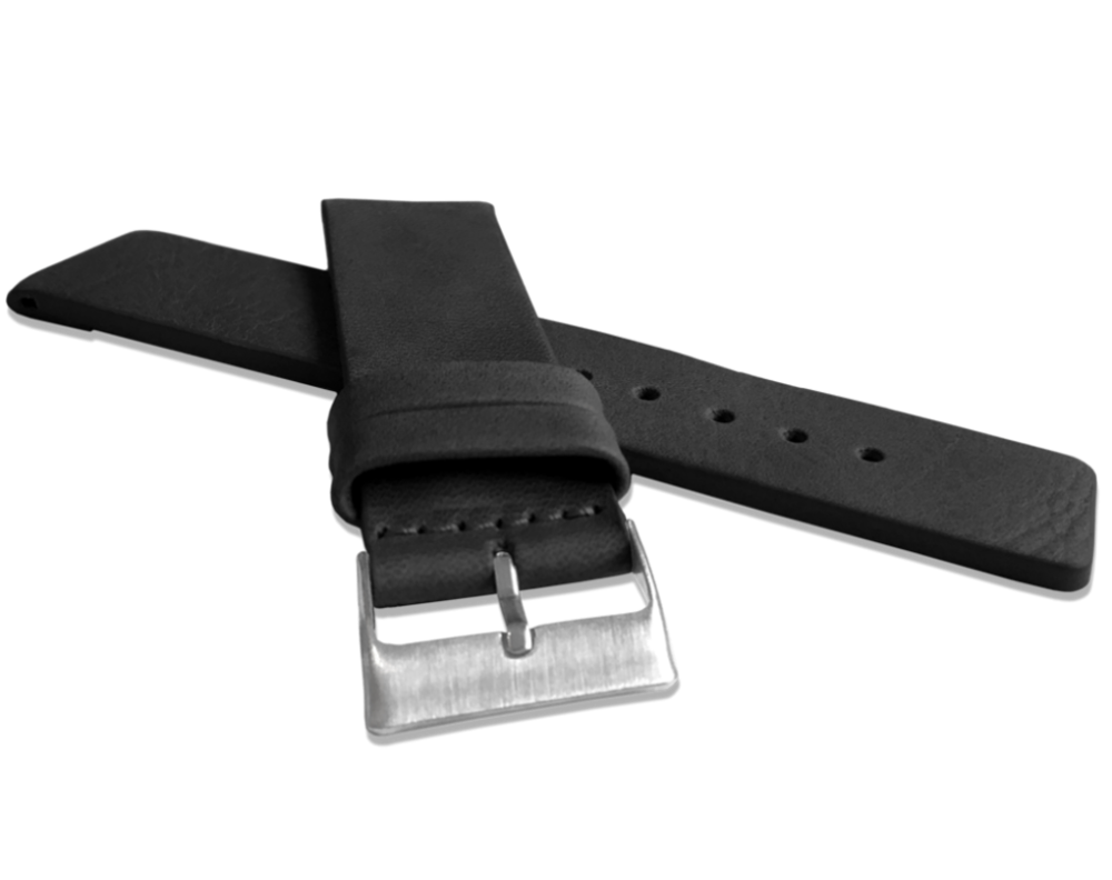 Černý hladký řemínek LAVVU PLAIN z luxusní kůže Top Grain - 26